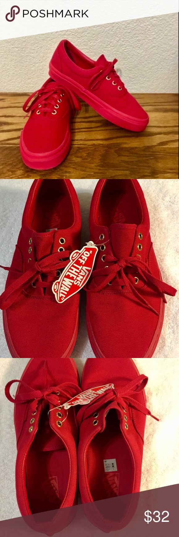 Vans Shoe's Vans Red on Red W/A Touch Of Gold Shoe's 🎉🎉Unisex Men's Size 10 1/2 Women's Size 12 Tags/ slightly dusty / Price Is Firm 🎉🎉packaged & ready to ship 📦 These Vans do not come wBox Vans Shoes Sneakers