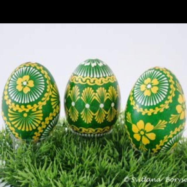 Love thecolors!Green & Yellow Ukrainian Eggs. Pysanka