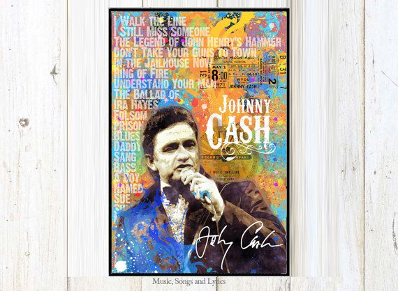 Johnny Cash Country-Musik Aquarell digitale von MusicSongsAndLyrics