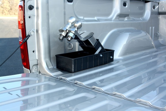 Receiver Caddy - Storage in your truck bed for ball mounts, hitch pins, trailer lights plugs, and more. Stores your ball mounts in one place, so you can find them easily when you need them.