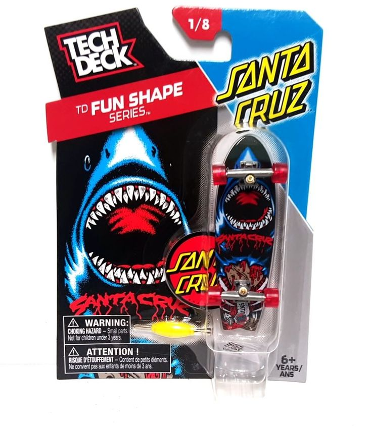 Tech Deck TD Fun Shape Series Santa Cruz Cruiser Fingerboarding 1/8 Shark Board #TechDeck