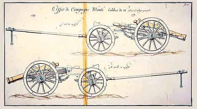 Planche originale du train d'artiellrie Gribeauval...le train d'artillerie monté, au complet (Musée des Invalides)