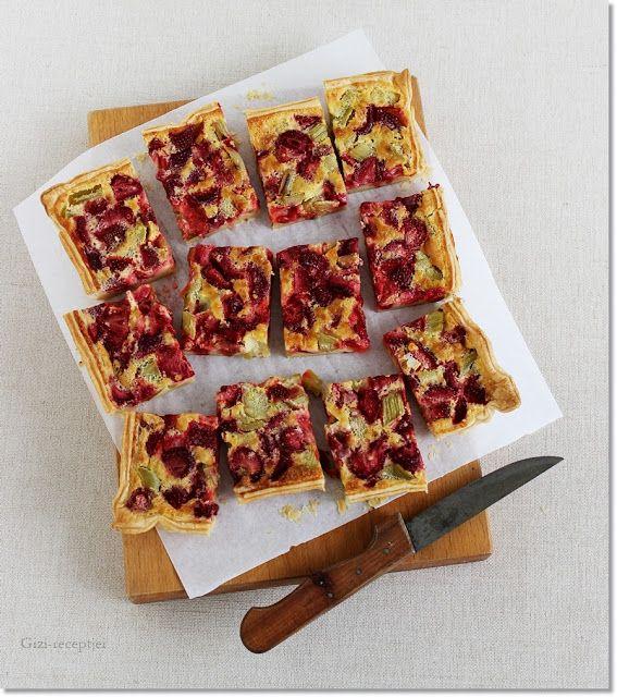 Gizi-receptjei.  Várok mindenkit.: Epres-rebarbarás leveles pite.