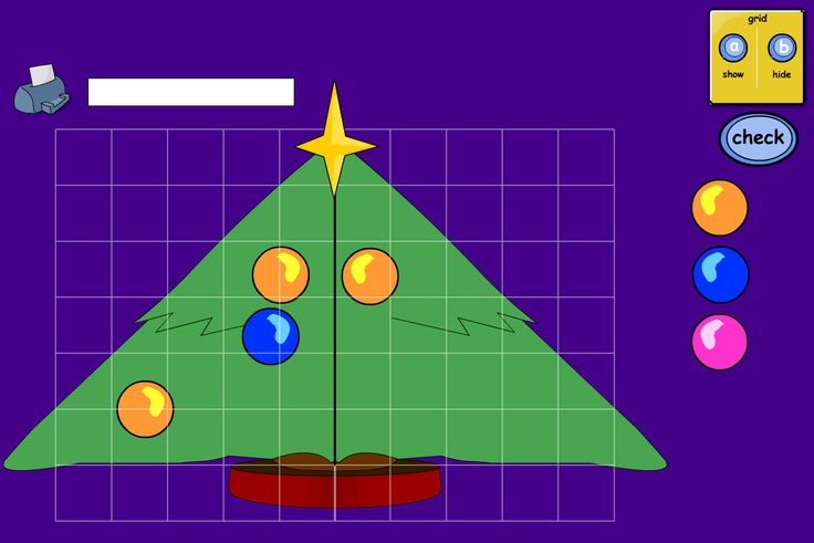 Place the baubles using reflective symmetry.  Add baubles to the right-hand side of the tree to mirror those on the left. There is an optional grid overlay to help.