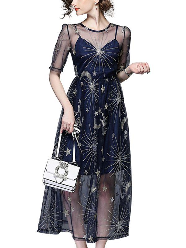 1754183c0ed6f Navy Blue Sheer Mesh Overlay Maxi Dress   My Style   Dresses ...