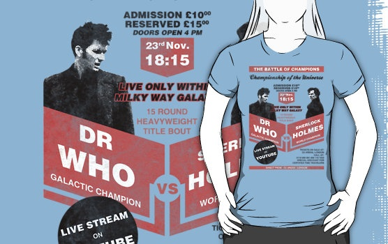 """Dr Who VS Sherlock Holmes Poster by bomdesignz - This is awesome! Except it should say """"The Doctor"""" rather than """"Dr Who"""". Aaargh! Get his name right people!"""