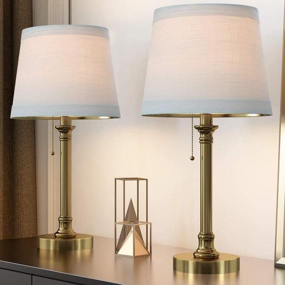 Modern Table Lamp Set Of 2 For Bedroom Living Room 20 Bedside Etsy In 2021 Table Lamp Sets Modern Table Lamp Table Lamp