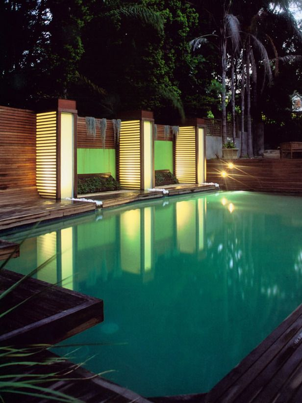 It's All About the Ambiance    Designed by Jamie Durie, this tranquil space is highlighted by the interplay of light towers and water features, creating the perfect ambiance for entertaining or a serene retreat for solo relaxing.