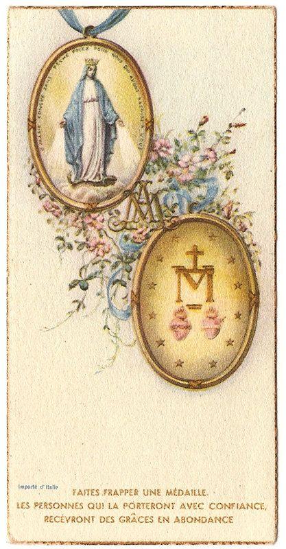 Blessed Mother Mary Miraculous Medal Vintage French Catholic Holy Prayer Card, Catholic Gift