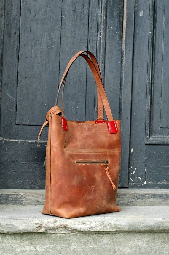 Leather Tote Bag GINGER handmade leather bag vintage hobo style Zuza 2 collection by Ladybuq