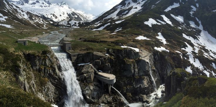 Waterfall in the Unteralp Valley just before the Maighels Hut
