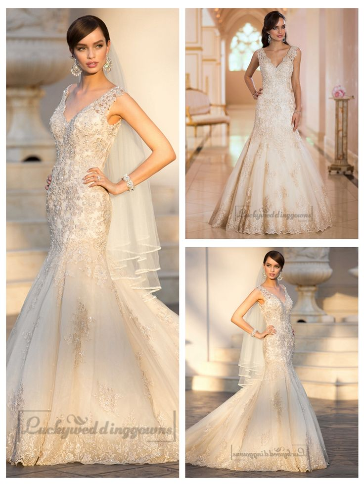 Elegant Straps Pluging V-neck Beaded Lace Wedding Dresses with Deep V-  back http://www.ckdress.com/elegant-straps-pluging-vneck-beaded-lace-  wedding-dresses-with-deep-vback-p-2018.html  #wedding #dresses #dress #lightindream #lightindreaming #wed #clothing   #gown #weddingdresses #dressesonline #dressonline #bride