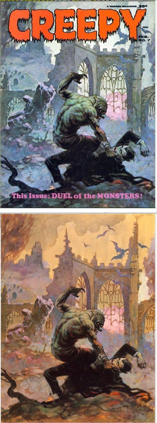 FRANK FRAZETTA - Creepy #7 - Duel of the Monsters - Feb 1966 Warren Publishing - print/cover by stendec8.blogspot.com
