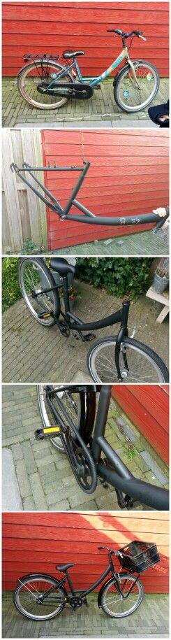 Van een tweedehands fiets een stoere nieuwe maken. Frame met krijtbordverf verven en laat je kind hem zelf inkleuren.