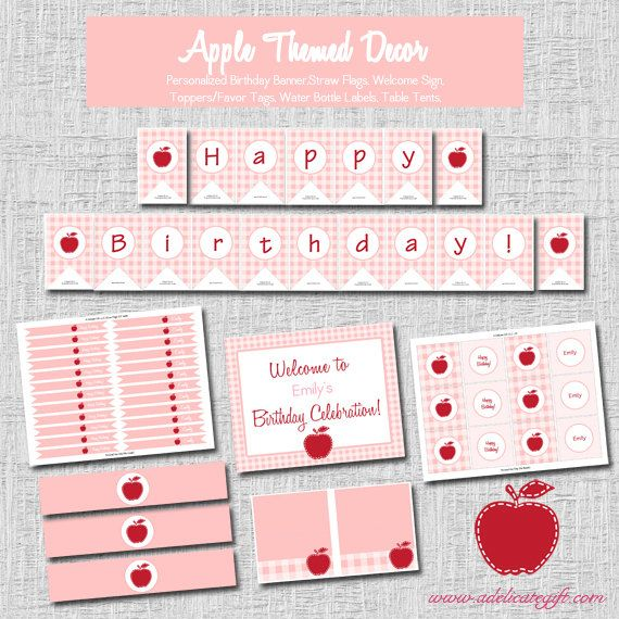 Apple Themed Party Decor-  Printable, www.adelicategift.com, #adelicategfit, #appleparty #Appleofoureye