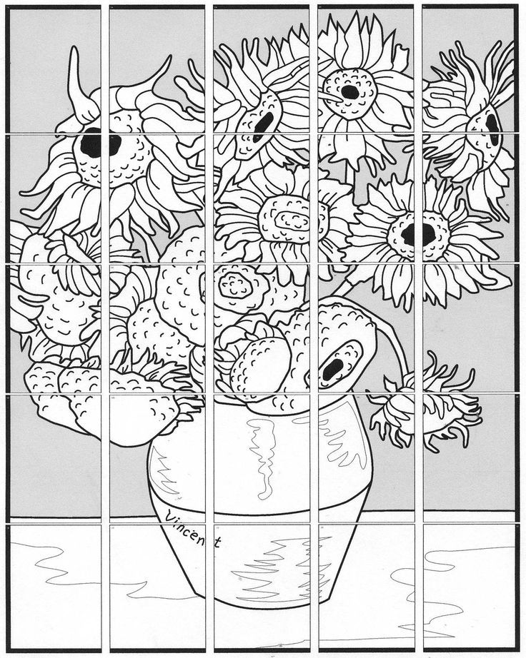 Van Gogh Sunflower diagram - give each kid a square to colour and then assemble afterward.  Or . . . do this but give them one to colour however they like, without seeing the original, before showing them the painting and having them do it as they see it.