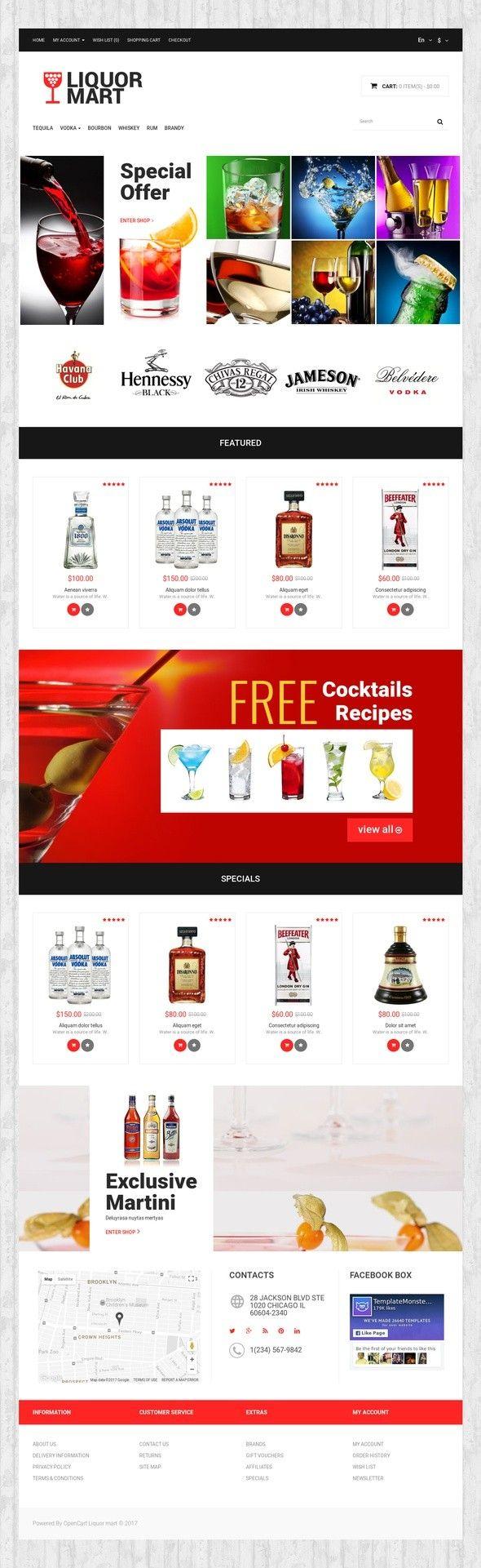Liquor Mart OpenCart Template E-commerce Templates, OpenCart Templates, Food & Restaurant, Food & Drink Templates