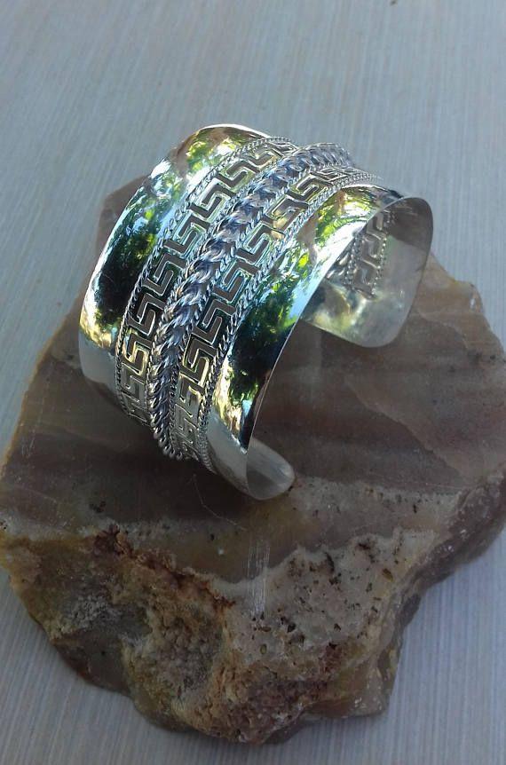 Greek Meander Bracelet Silver Cuff Bracelet Wide Silver
