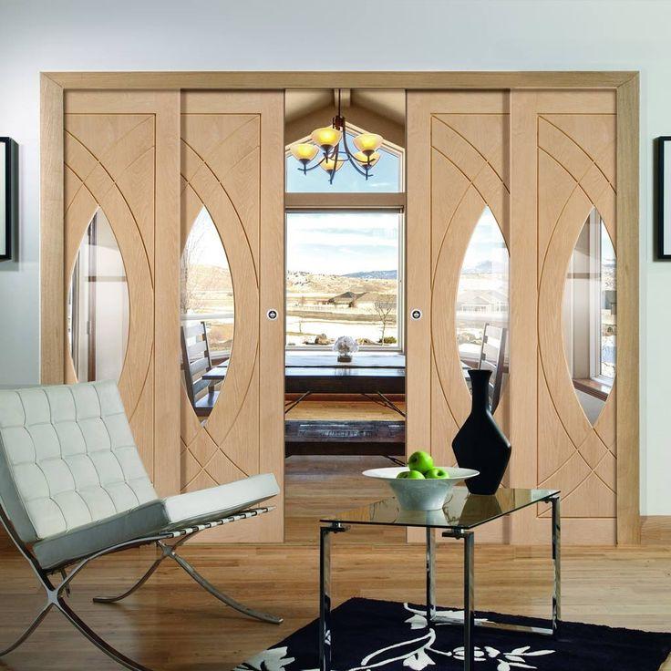 Quad Telescopic Pocket Treviso Oak Veneer Door - Clear Glass - Prefinished.    #designerdoors #telescopicdoors #interiordoors #moderndoors #hiddendoors