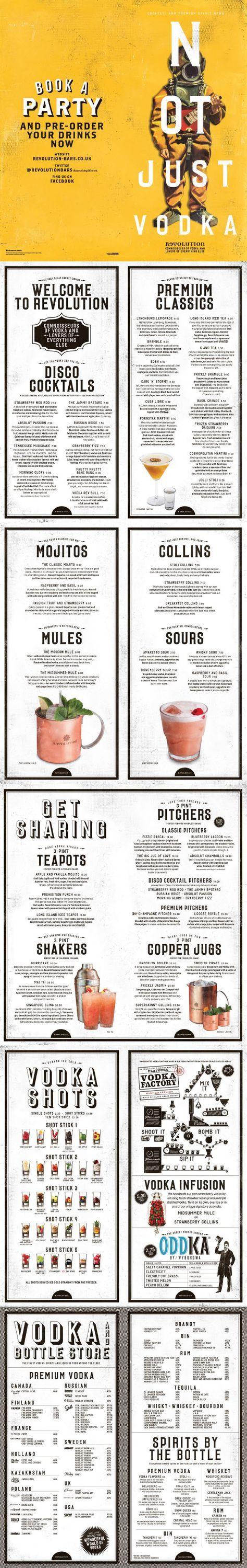 Cool Retro Bar Menu, Graphic Design, Typography, Illustration, Photography for Vodka Revolution by www.diagramdesign.co.uk