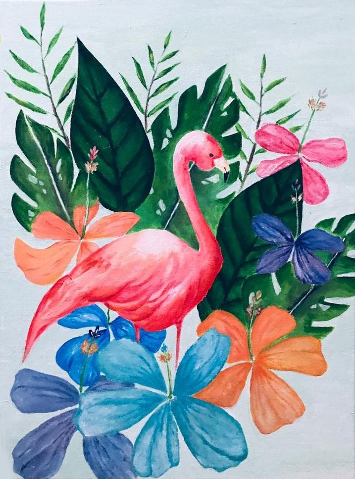 Flamingo Paradiso Painting Painting Class Online Painting