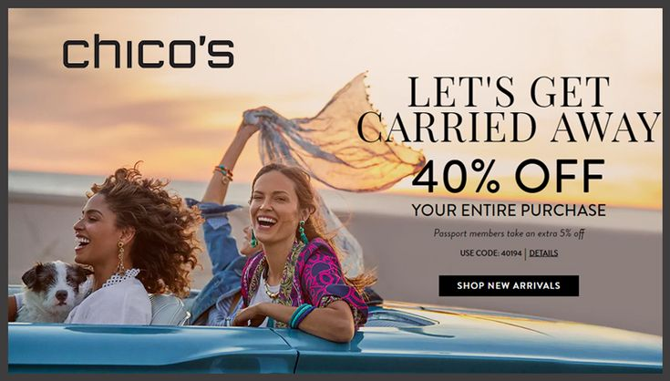 Online Only! 40% #Off Your Entire Purchase Plus Passport member take an extra 5% #Off.  Store: #Chicos Scope: Entire Store Ends On : 04/25/2018  Get more deals: http://www.geoqpons.com/Chicos-coupon-codes?code=4019%204&_target=/referer/18839702  Get our Android mobile App: https://play.google.com/store/apps/details?id=com.mm.views  Get our iOS mobile App: https://itunes.apple.com/us/app/geoqpons-local-coupons-discounts/id397729759?mt=8