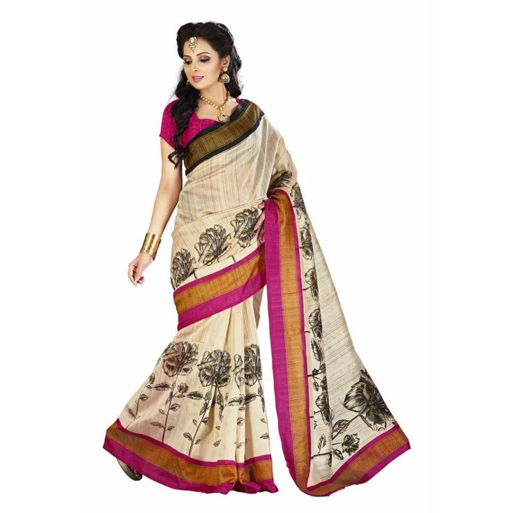 Beige Printed Silk #Saree at Rs. 642 Only. To Buy click here>  #apparelforwomen