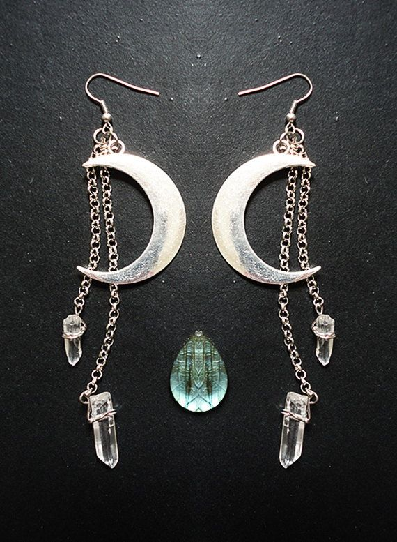 Moon Earrings Luna Quartz Crystal Points Hippie by SierDreamS