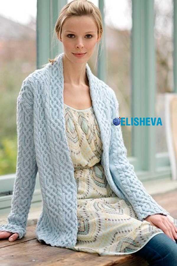 Женский красивый жакет c аранами от Debbie Bliss. Бесплатное описание | Блог elisheva.ru