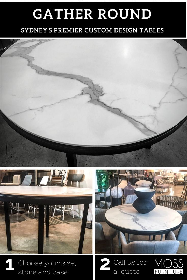 Custom made round Quartz stone table in marble look with black base - Make one for your home!
