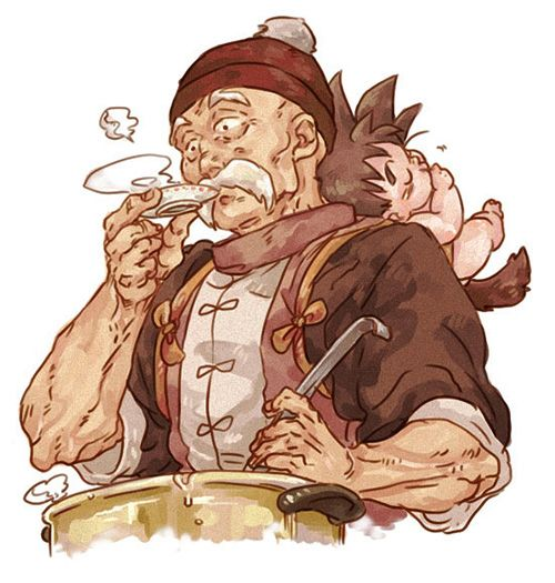 grandpa_gohan_baby_goku_dragon_ball_art_watercolor_painting