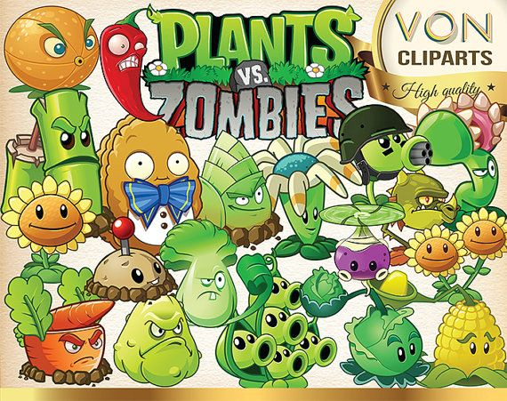 61 Plants vs Zombies Clipart PNG Digital Image Plants Zombies Clip Art disney Dalmatians scrapbook Invitations INSTANT DOWNLOAD printable