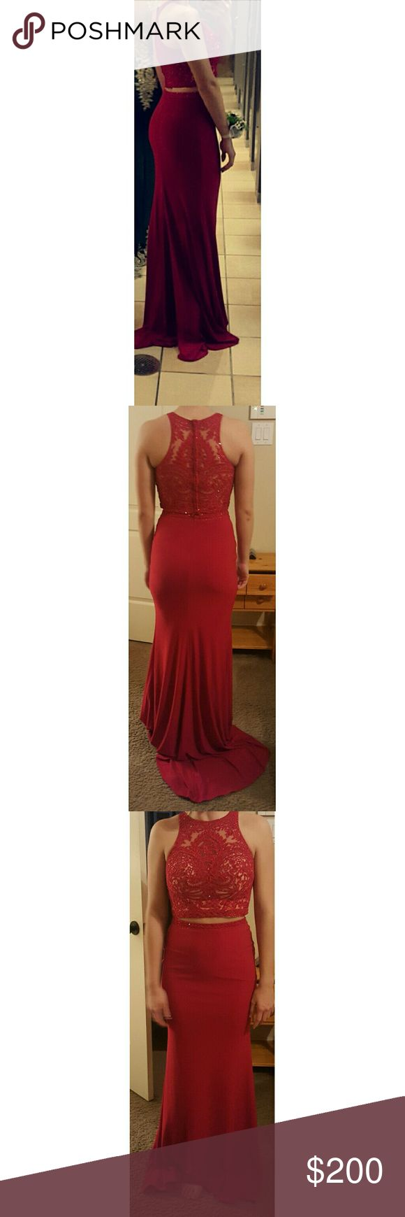 Prom dress for sale, size 4!! The dress is a two piece red dress. It has jewls on the top and soft material from the waist down. N/A Dresses Prom