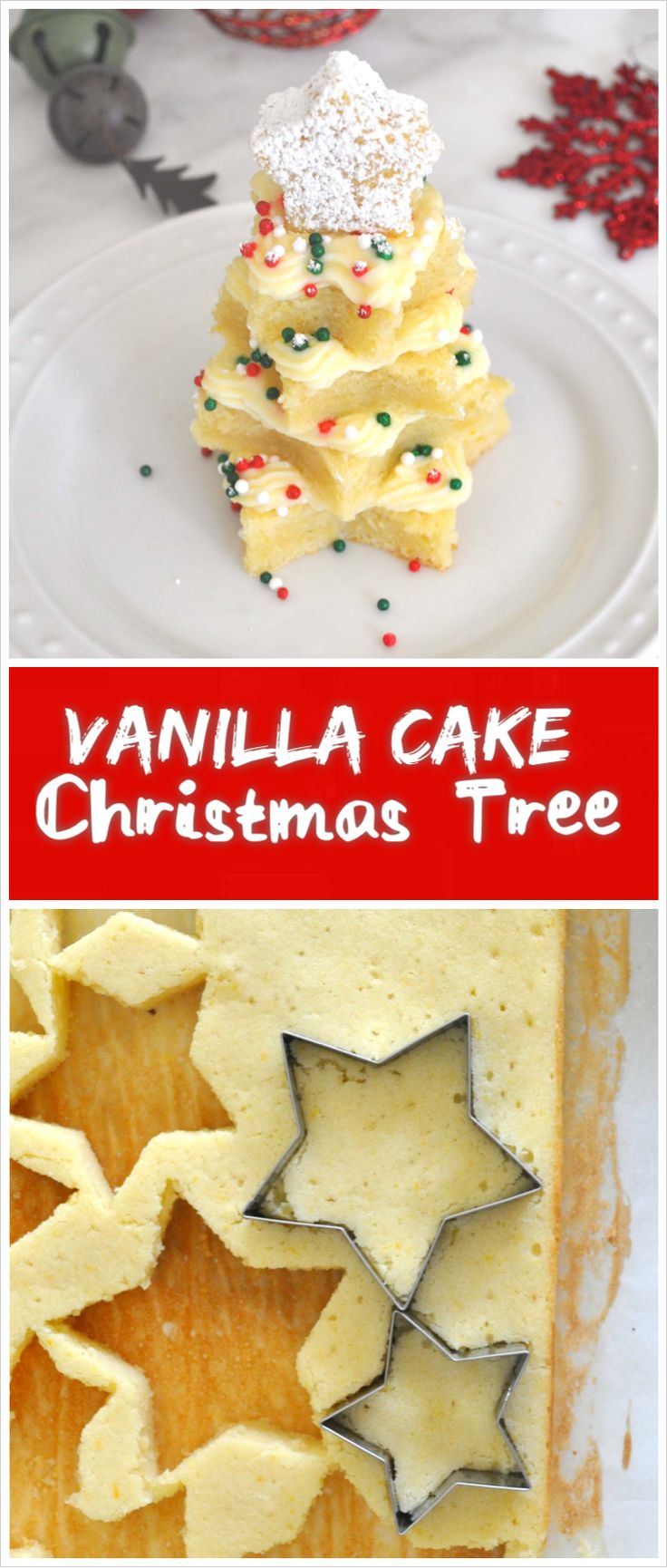 These cute Christmas tree vanilla cakes stuffed with rich custard cream, and decorated with colorful sprinkles are the perfect way to  make your holiday sweeter