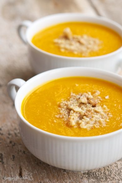 """""""Pumpkin Mango Soup with Chopped Walnuts"""" - Leave off the walnuts, this would be perfect!"""