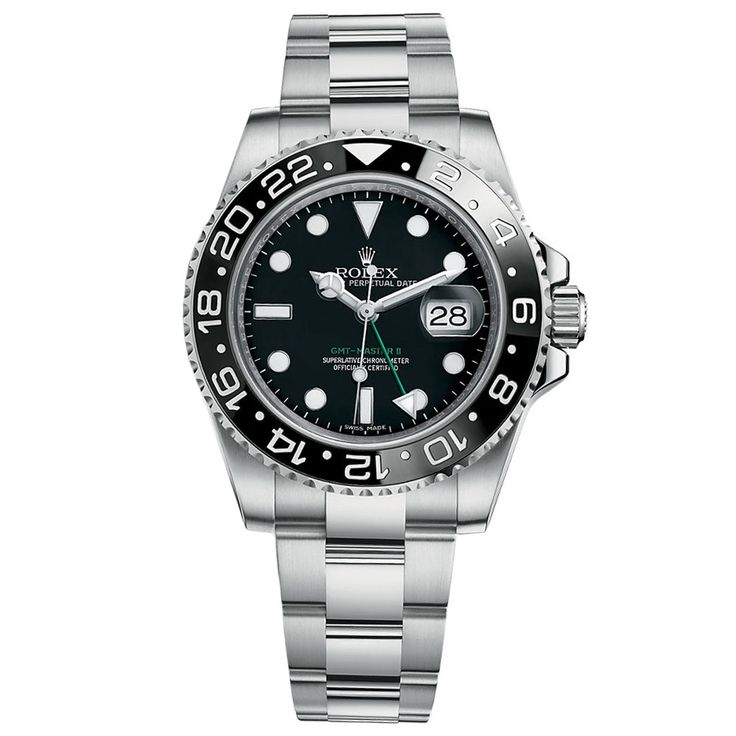 Rolex GMT-Master II Stainless Steel Watch Black Ceramic Bezel 116710LN
