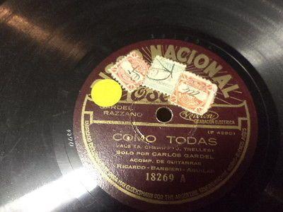 Late-20s-Argentine-DISCO-NACIONAL-Odeon-78-CARLOS-GARDEL-w-Guitarras