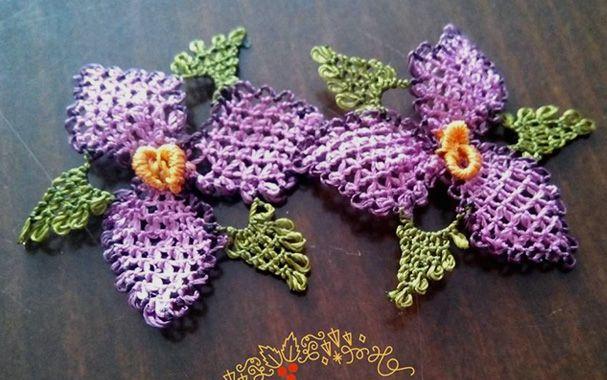 Кружевной цветочек 2D с листьями.Турецкое кружево