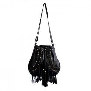 WASHAWAY ALL BLACK LEATHER BAG