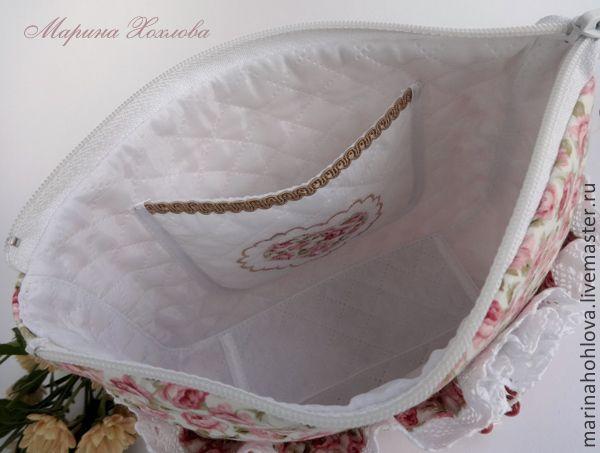 Косметичка Полли - маленькая сумочка, хлопковая сумка, косметичка из ткани, цветочный, ретро стиль