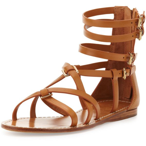 Tory Burch Lucas Leather Gladiator Sandal, Custom Tan ($128) ❤ liked on Polyvore featuring shoes, sandals, flats, tory burch flats, gladiator sandal, leather gladiator sandals, tan strappy sandals and strappy sandals