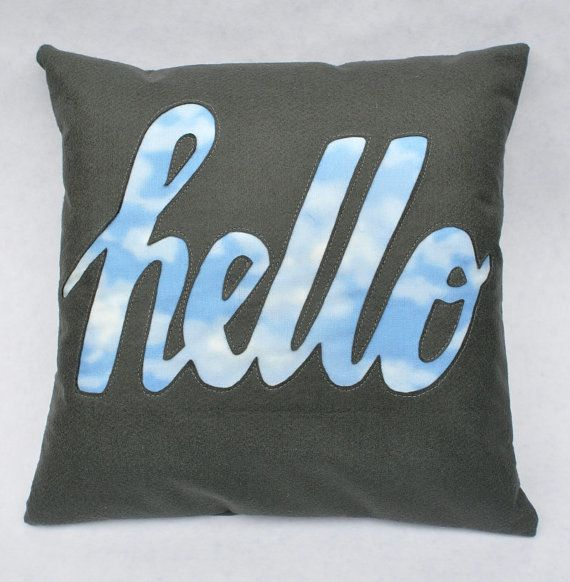 Sky Hello Cushion in Dark Grey Felt by minimanna on Etsy, £23.00