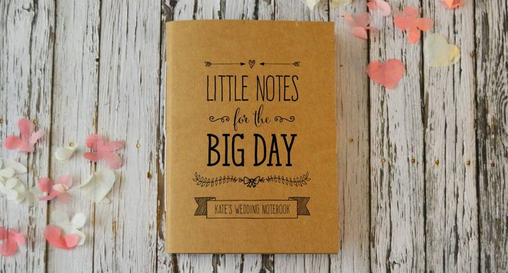 Personalised Notebook for Wedding Planning, Cute Bridal Journal / Wedding Planner - Little Notes for the Big Day by CandyFaceCreative on Etsy https://www.etsy.com/listing/224323012/personalised-notebook-for-wedding