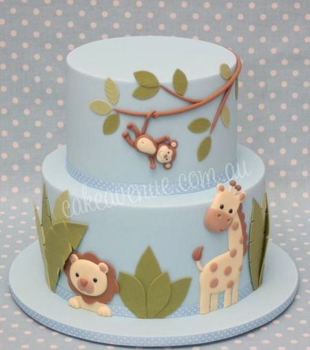 Adorable jungle animals baby shower cake. : )