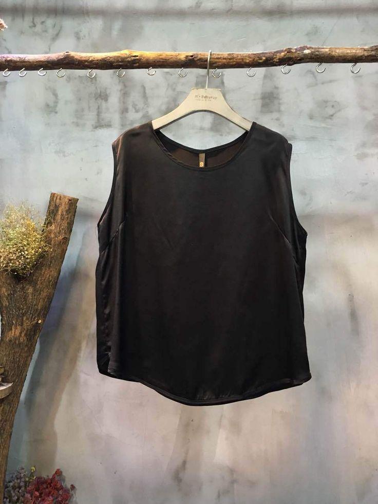 Solid Color Round Collar Casual Black Camisole Womans Cheap Tank Top    #black #camisole #tanktop #vest #top #wholesale #retail #amazing #plain