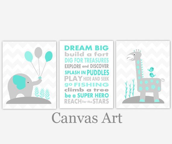 Baby Boy Nursery Art Teal Gray Grey Aqua Elephant Giraffe Dream Big Canvas  Prints Baby Nursery Decor Boy Room Children Quotes Shower Gift