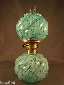 Raro-Antiguo-Azul-opalescente-salpicaduras-Miniatura-queroseno-lampara-de-aceite