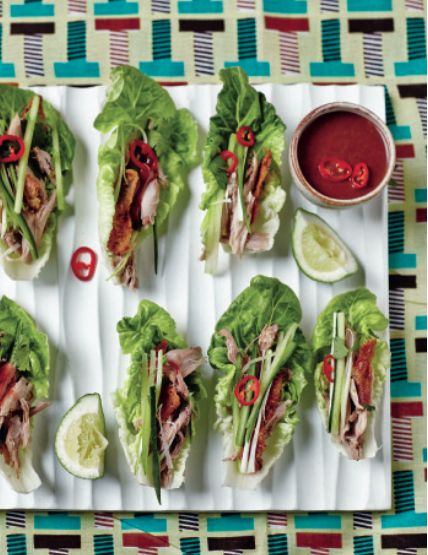 A sophisticated party starter: Duck Tamarind Lettuce Wraps. Find the recipe in The Art Of Eating Well.