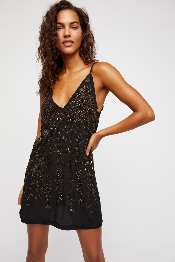 Arizona Nights Embellished Slip | Femme slip with a glam look featuring beautiful embellishments allover.    * Unfinished edges for a lived-in look * V-neckline * Adjustable straps