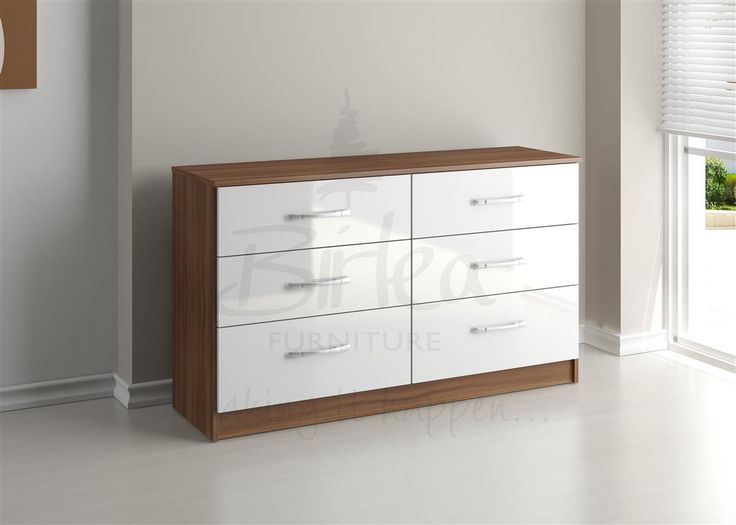 Walnut And White Gloss Chest Of Drawers